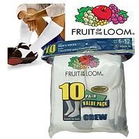 Fruit of the Loom Men's White Crew Sport Sock