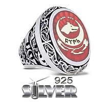 Göktürk Kurt kýrmýzý Silver 925