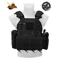 Black Storm Tactical Vest Fileli Gövde Siyah