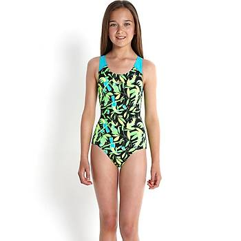 Speedo Endurance Plus Kýz Çocuk Yüzücü Mayosu - Siyah/Yeþi
