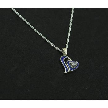 Kalpli Gümüþ Kolye Ucu Mavi Taþlý Bayan Boyunluk Model Kadýn UC-129