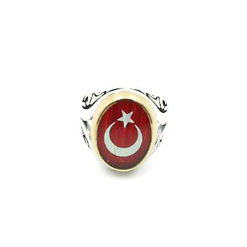 Ay Yýldýzlý Erkek Gümüþ Yüzük Türkiye Bayraklý Oksitli Otantik Bay Yüzük EYZ-48