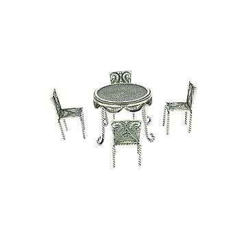 Gümüþ Sandalye Minyatür Oksitli Telkari Gümüþ Hediyelik Sandalye TH-45