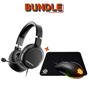 SteelSeries Arctis 1 Wireless Oyuncu Kulaklığı + Steelseries Rival 3 Mouse + Qck Medium Mousepad