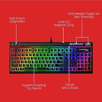 Hyperx Alloy Elite 2 HKBE2X-1X-UK/G Red Switch Lineer Ýngilizce RGB Mekanik Gaming Klavye