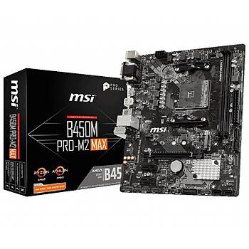 MSI B450M PRO-M2 MAX 4133MHz(OC) DDR4 Soket AM4 M.2 HDMI DVI mATX Anakart