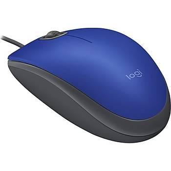Logitech M110 Silent (Sessiz) Kablolu Optik USB Mouse - Mavi