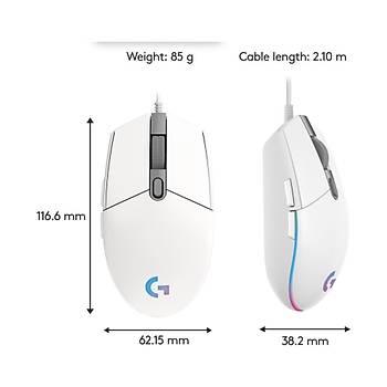 Logitech G G102 Lightsync Oyuncu Mouse - Beyaz