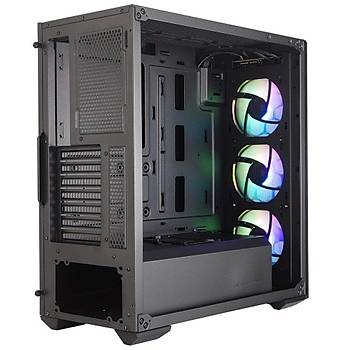 CoolerMaster MasterBox MB511 650W 80+Bronze, Tempered Glass, 3x120mm ARGB Led, Mesh Ön Panelli MidTower