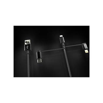 Dexim DWA0003 3 in 1 Örgülü USB Kablo Type-C + Micro USB + Lightning