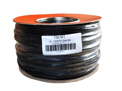 100 Metre 2+1 CCTV BAKIR Kablo 2*0.50 mm Polietilen