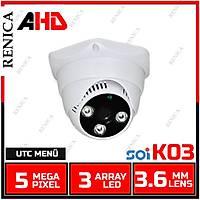 Renica HD-A437 5 MP HD 1920P  3 Array Led  3.6 MM Lens  Ahd Dome Kamera-1818R