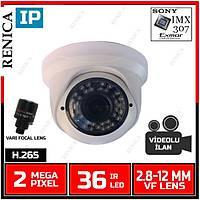 Renica IP-E2634 2 MP 36 Led 2.8-12 MM Varifocal Lens SONY IMX307 Sensor Plastik Dome Kasa H.265 IP Kamera - 1858R