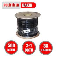 500 Metre 2+1 Cctv BAKIR Kablo 2*0.50 mm Polietilen - 1446