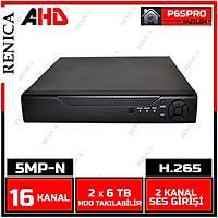 RENICA  PB-2516 GOLD  16 KANAL 5MP-N  P6  AHD  DVR H265 Kayit Cihazý / 1760R