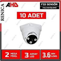 Renica  HD-A337 2 MP F33 SENSOR 3.6 MM Lens 3 Array Led AHD Plastik Dome Kamera-1739R  10 ADET