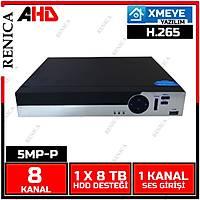 Renica AD-0860P 8 Kanal 5MP-P 1920P AHD Dvr Kayýt Cihazý -XMEYE -H265 / 1805R
