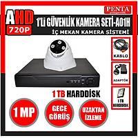 A01H -1 Adet Gece Görüşlü MP Kamera Hazır Kablolu 1 TB Hdd Dahil AHD Güvenlik Sistemi