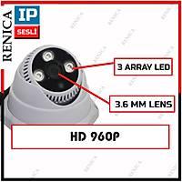 Renica IP-E2137 1.3 MP 3 Array Led 3.6 MM Lens Sesli IP Dome Kamera - 1728R