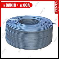 250 Metre 4+1 Cctv BAKIR+CCA Kablo  (1x 0.22 BAKIR + 4*0,22 mm CCA)  / 1828