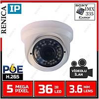 Renica IP-E5034POE 5 MP  36 Led 3.6 MM Lens SONY IMX335 Sensor Plastik Dome Kasa H.265 IP Kamera - 1860R-POE