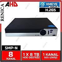 Renica AD-0850 8 Kanal 5MP 1920N AHD Dvr Kayýt Cihazý -XMEYE -H265 / 1802R