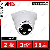Renica  HD-A337 2 MP F33 SENSOR 3.6 MM Lens 3 Array Led AHD Plastik Dome Kamera-1739R