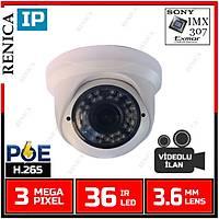 Renica IP-E2634POE 3 MP  36 Led 3.6 MM Lens SONY IMX307 Sensor Plastik Dome Kasa H.265 IP Kamera - 1859R-POE