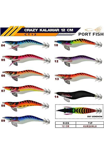 Port Fýsh Crazy Glow Kalamar Zokasý 12 cm 20gr