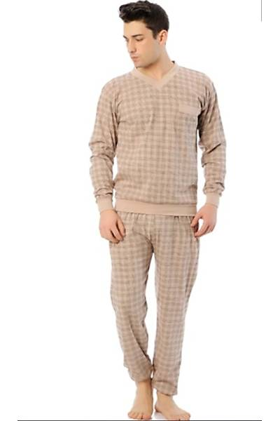 Erkek manþetli içi pamuklu pijama takým