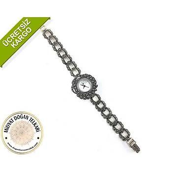 Elips Halka Model Markazit Taşli Bayan Gümüş Saat