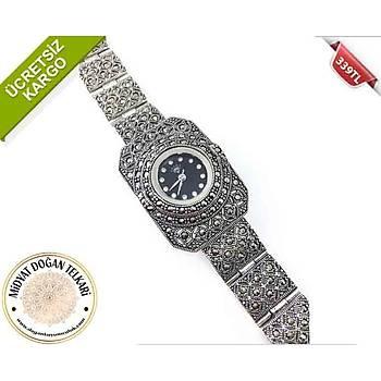 Asur Model Markazit Taşli Bayan Gümüş Saat