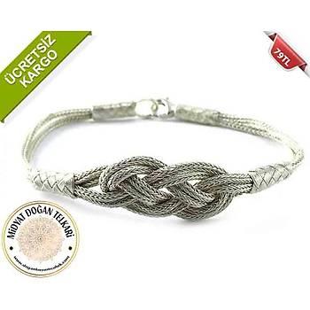 Sonsuzluk AŞK Düğümü Modeli 1000 Ayar Elişi Bay-Bayan Gümüş Kazaziye Bileklik
