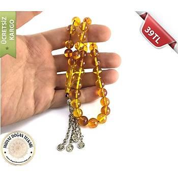 Sarı rengi Toz Kehribar Tesbih (2)