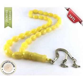 Sarı Renk Sıkma Toz Kehribar Tesbih (3)