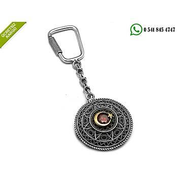 925 Ayar Gümüş Oksitli Telkari Ayyıldız Tasarım Anahtarlık Stok Kodu:2019122