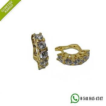 925 Ayar Gümüş Altın Kaplama Zirkon Taşlı Beştaş Tasarım Küpe Stok Kodu:202005