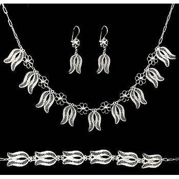 El İşi Telkari Gümüş Lale Motifli Set Takım