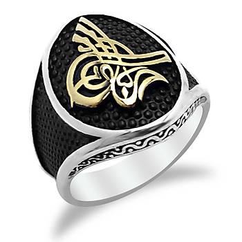 Osmanlı Tuğralı Elips Model Taşsız Erkek Gümüş Yüzük