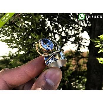925 Ayar Gümüş Zirkon Taşlı Özel Tasarım El İşi Otantik Yüzük Stok Kodu:2019725