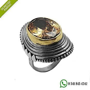Sitrin Taşlı Oval Tasarım El İşçiliği Bayan Otantik Gümüş Yüzük Stok Kodu:20191127