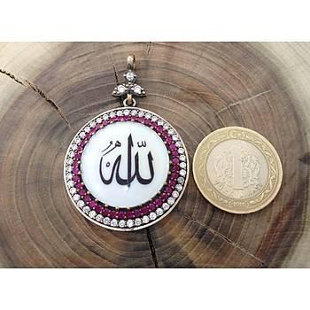 Sedef, Yakut Ve Zirkon Taşlı ALLAH cc. Yazılı 925 Ayar Gümüş Kolye