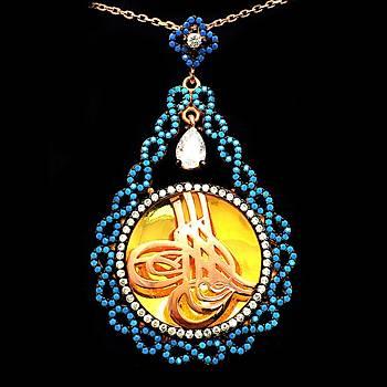 Mikro Firuze Taşlı Sonsuzluk İşlemeli Osmanlı Tuğra Model Gümüş Bayan Kolye Ucu Stok Kodu: 20161938