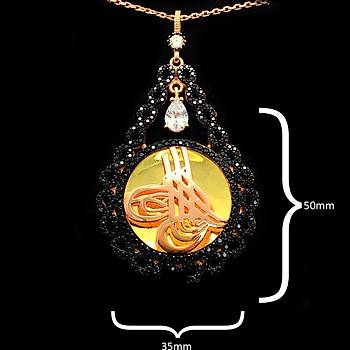 Mikro Siyah Zirkon Taşlı Sonsuzluk Desenli Osmanlı Tuğra Model Gümüş Bayan Kolye Ucu Stok Kodu: 20161941
