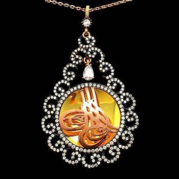 Mikro Zirkon Taşlı Vav İşleme Osmanlı Tuğra Model Gümüş Bayan Kolye Ucu  Stok Kodu: 20161940