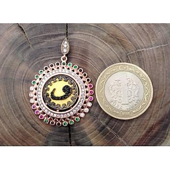 Renkli Zirkon Taşlı Vav Harfli 925 Ayar Gümüş Kolye
