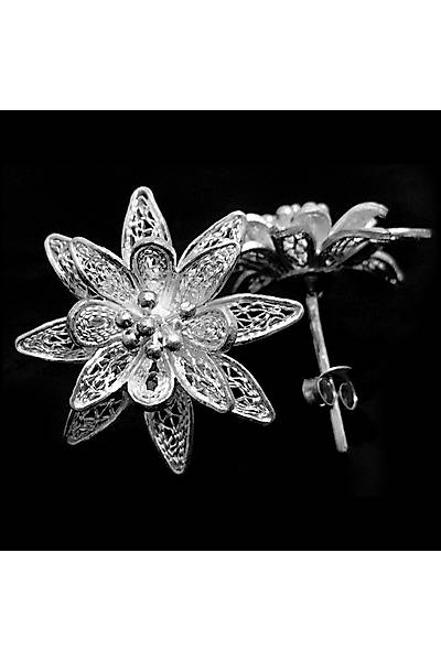 Çiçek Model 10 Midyat El iþçiliði Bayan Gümüþ Küpe, Stok Kodu:20161458