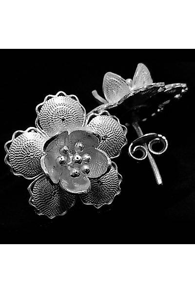 Çiçek Model 6 Midyat El iþçiliði Bayan Gümüþ Küpe, Stok Kodu:20161454