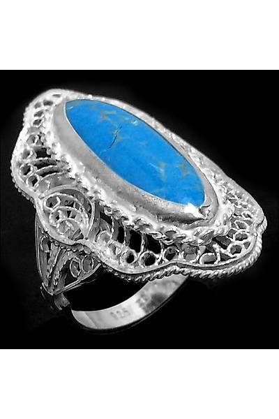 Lapis Lazuli Taþlý Midyat Telkari  El iþçliði Bayan Gümüþ Yüzük, Stok Kodu:20161489
