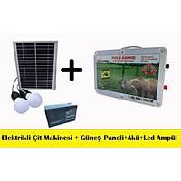 Elektrikli Çit Makinesi + Güneş Paneli +Akü 3lü Set+Lamba Set